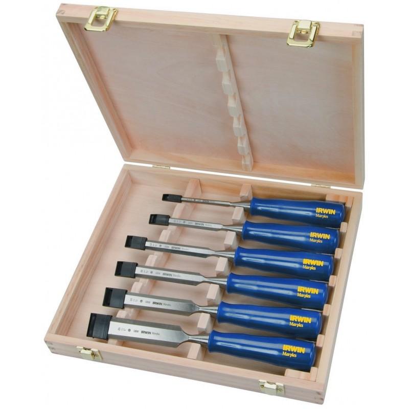 Zestaw 6 dłut M444 w drewnianej skrzynce - 6, 10, 13, 19, 25, 32 mm TM444S6
